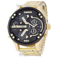 Мужские часы Diesel Brave, кварцевые, элитные часы Дизель Брейв, стальной ремешек, золото