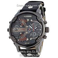 Мужские часы Diesel Brave black, кварцевые, элитные часы Дизель Брейв, кожаный ремешек, красные стрелки