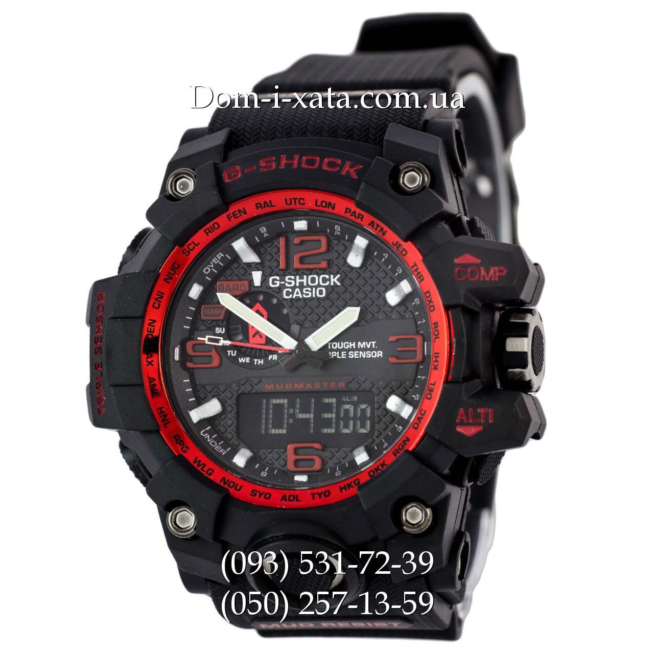 Электронные часы Casio G-Shock GWG 1000 Black/Red, Джи Шок черные, красный циферблат, реплика отличное качество