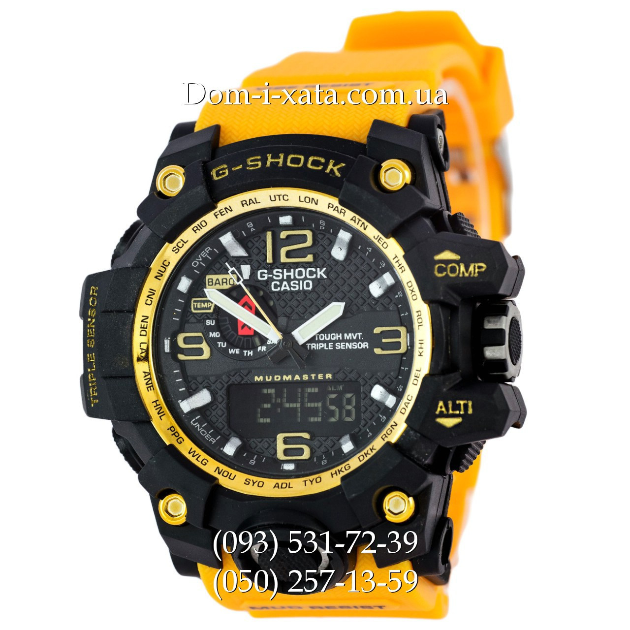 Электронные часы Casio G-Shock GWG 1000 Black/Yellow, спортивные часы Джи Шок(черно-желтые), реплика отличное качество!