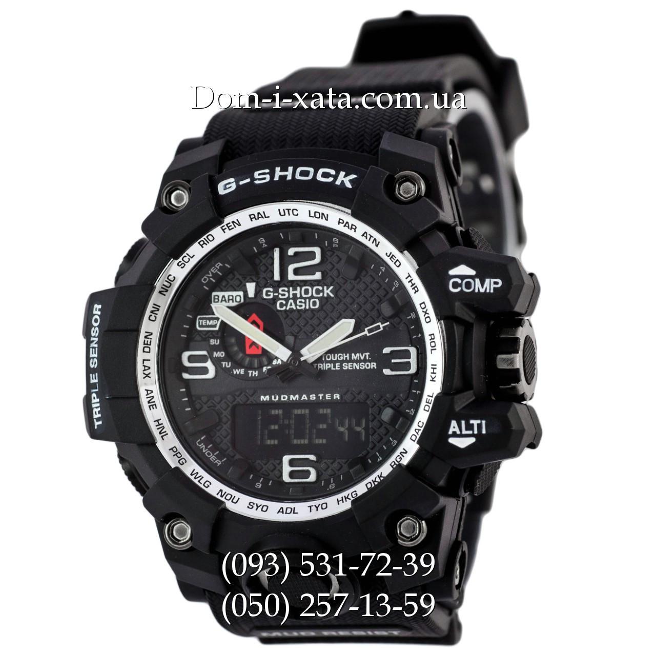 Электронные часы Casio G-Shock GWG 1000 Black/Silver, спортивные часы Джи Шок черные, серебристый циферблат, реплика отличное качество