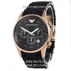 Мужские часы Emporio Armani AAA black-gold, элитные часы Эмпорио Армани черные-золото, реплика отличное качество!