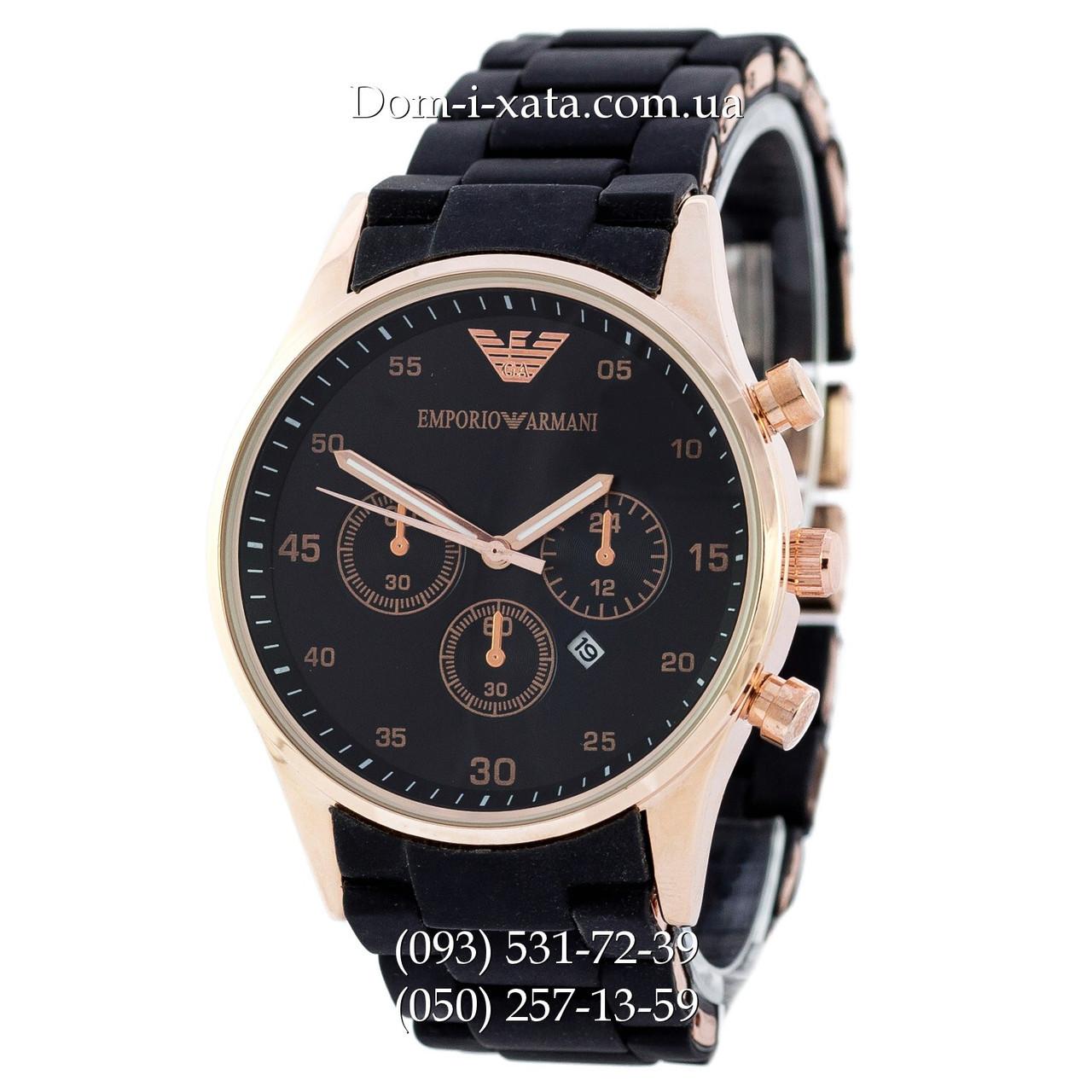 Мужские часы Emporio Armani black-gold, элитные часы Эмпорио Армани черные-золото, реплика отличное качество