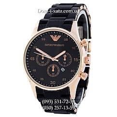 Мужские часы Emporio Armani black-gold, элитные часы Эмпорио Армани черные-золото, реплика отличное качество!
