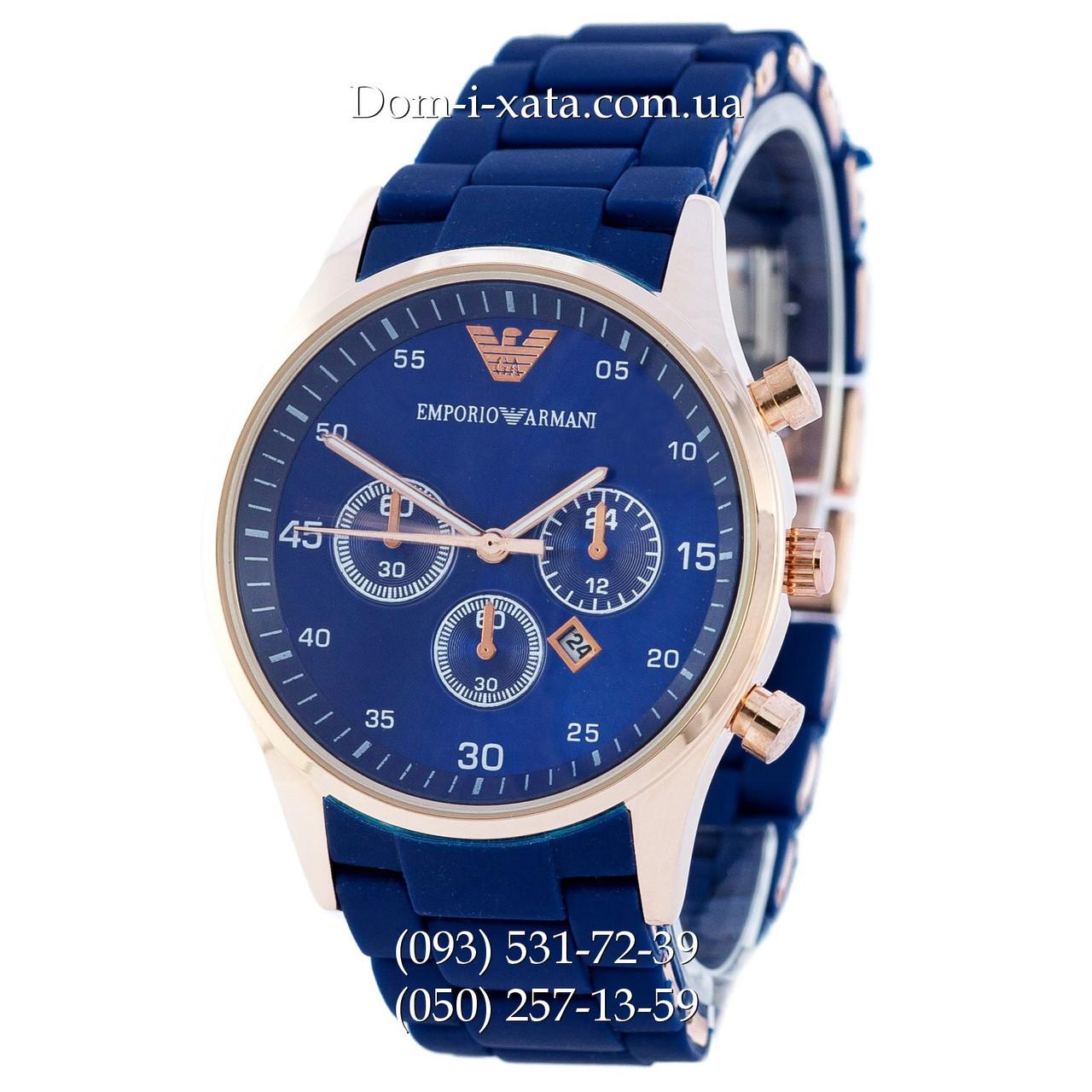 Мужские часы Emporio Armani blue-gold, элитные часы Эмпорио Армани синие-золото, реплика отличное качество