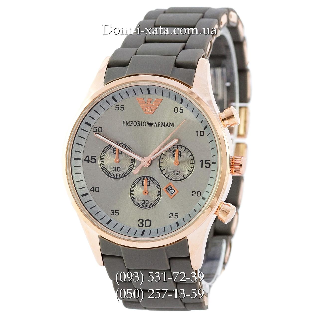 Мужские часы Emporio Armani gray-gold, элитные часы Эмпорио Армани серый-золото, реплика отличное качество