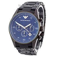 Мужские часы Emporio Armani black-blue копия ААА, элитные часы Эмпорио Армани черный-синий