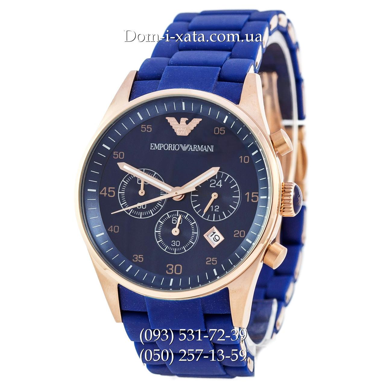 Часы элитные мужские Emporio Armani blue-gold, Эмпорио Армани синий-золото, реплика отличное качество!