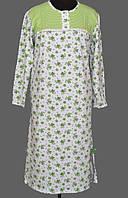 Теплая длинная ночная сорочка женская (ночнушка) большого размера хлопковая с начесом байковая (Украина)