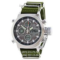 Армейские часы AMST 3003 Silver-Black Green, кварцевые, противоударные, армейские часы АМСТ