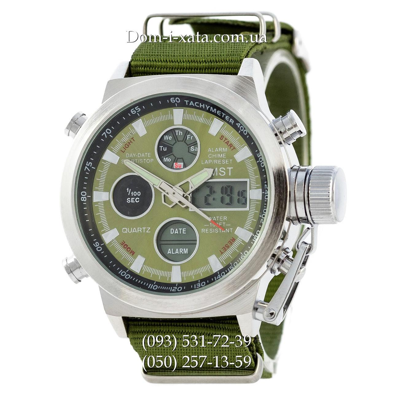 Армейские часы AMST 3003 Silver-Green, кварцевые, противоударные, армейские часы АМСТ серебристо-зеленые, реплика отличное качество!
