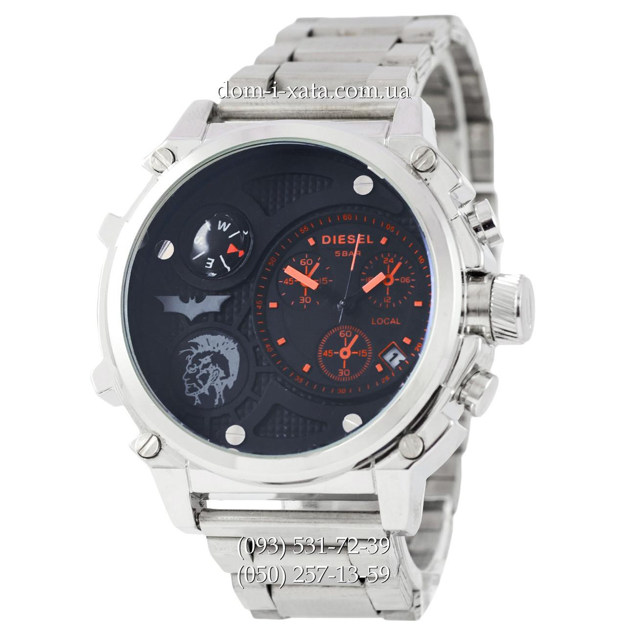 Мужские наручные часы Diesel Steel Brave 2221 Silver-Black-Red, кварцевые, элитные часы Дизель Стил Брейв, реплика отличное качество!