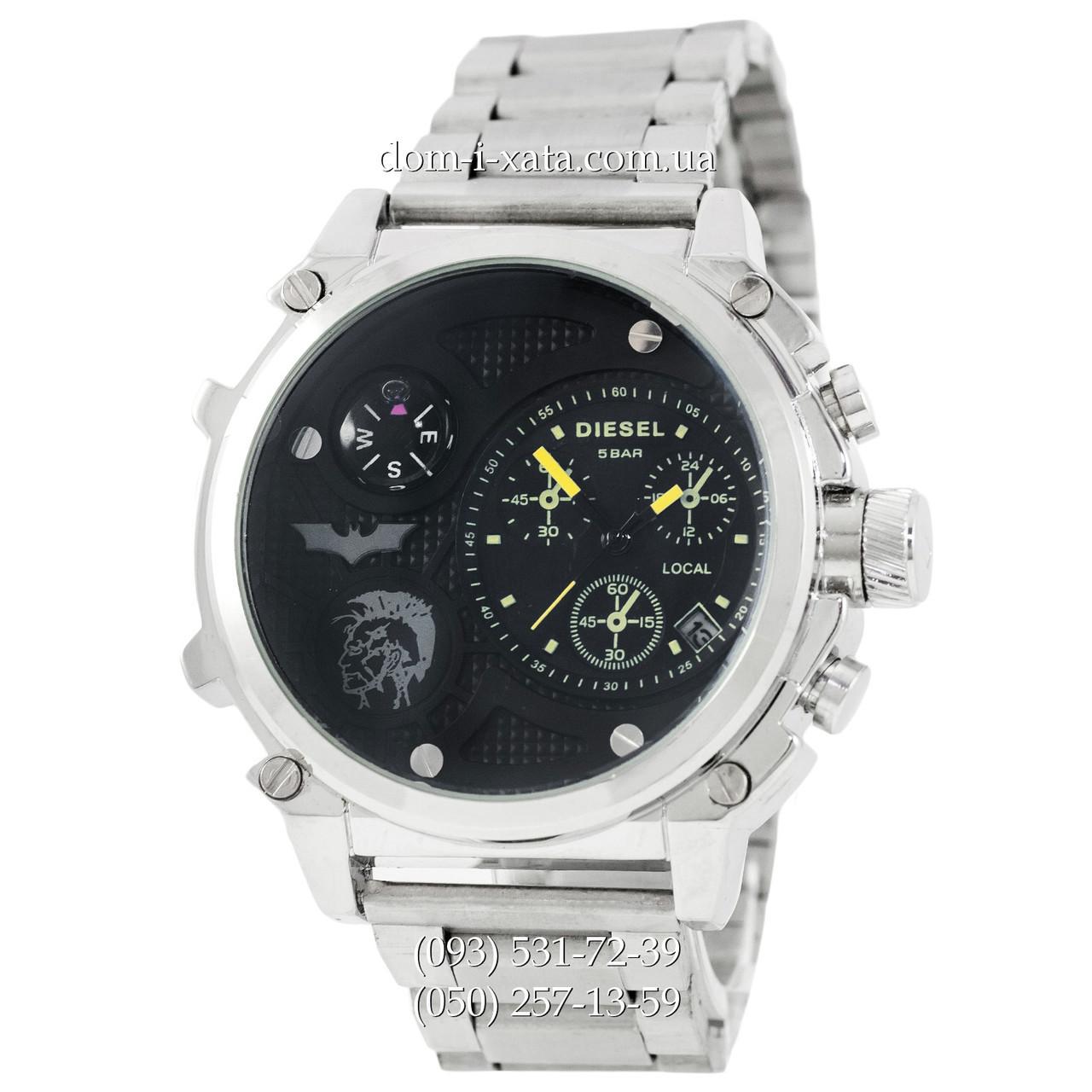 Мужские наручные часы Diesel Steel Brave 2221 Silver-Black-Yellow, кварцевые, элитные часы Дизель Стил Брейв, реплика отличное качество!