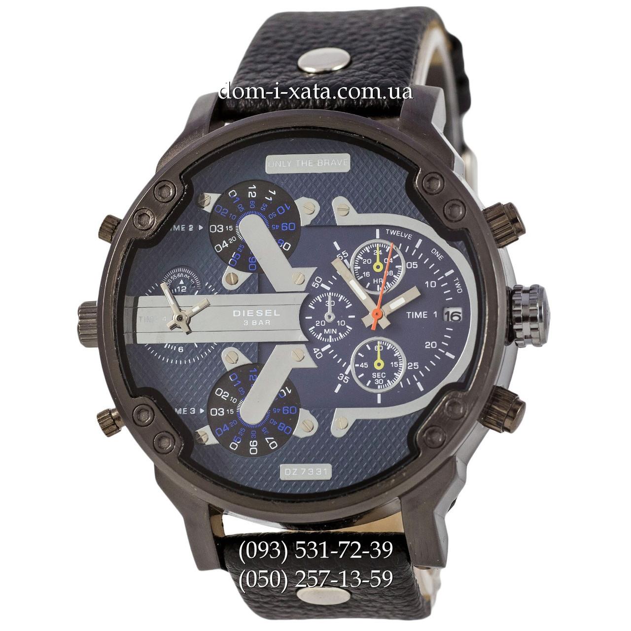 Мужские часы Diesel DZ7314 All Black-Blue-Silver, кварцевые, элитные часы Дизель Брейв, кожаный ремешек, реплика отличное качество!