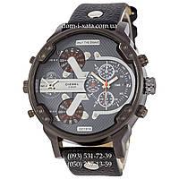 Мужские часы Diesel DZ7314 All Black-Gray-Orange, кварцевые, элитные часы Дизель Брейв, кожаный ремешек