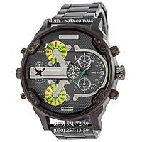 Мужские часы Diesel DZ7314 Steel All Black-Gray-Green, кварцевые, элитные часы Дизель Брейв, стальной ремешек