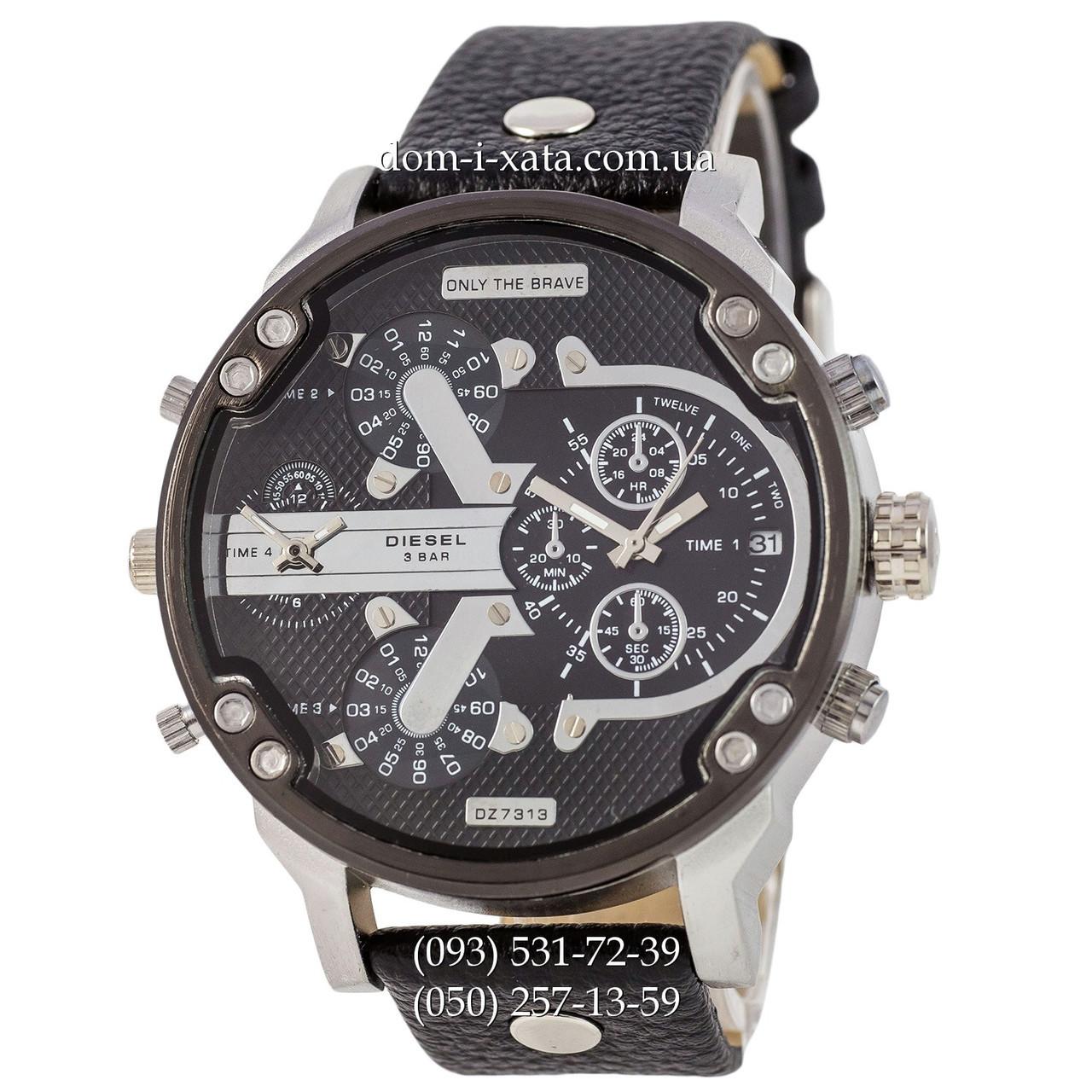 Мужские часы Diesel DZ7314 Black-Silver-Black, кварцевые, элитные часы Дизель Брейв, кожаный ремешек, реплика отличное качество!