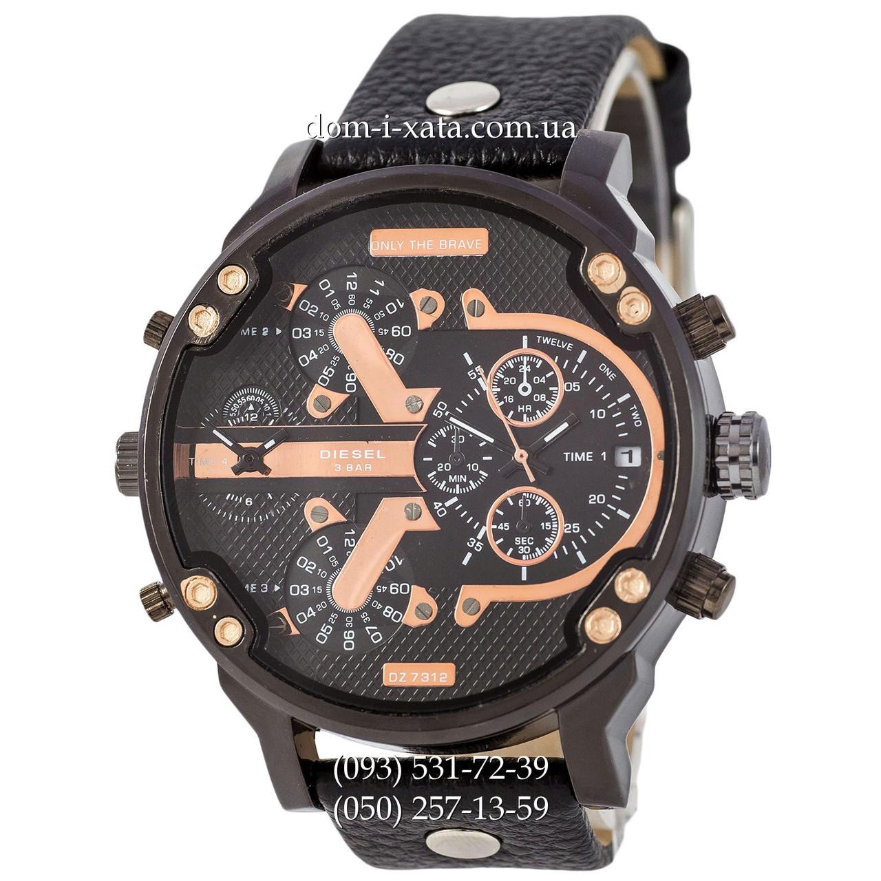 Мужские часы Diesel DZ7314 All Black-Cuprum, кварцевые, элитные часы Дизель Брейв, кожаный ремешек, реплика отличное качество!