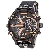 Мужские часы Diesel DZ7314 All Black-Cuprum, кварцевые, элитные часы Дизель Брейв, кожаный ремешек