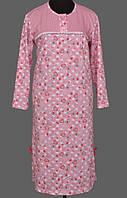 Байковая пижама теплая длинная ночная сорочка женская (ночнушка) хлопковая с начесом
