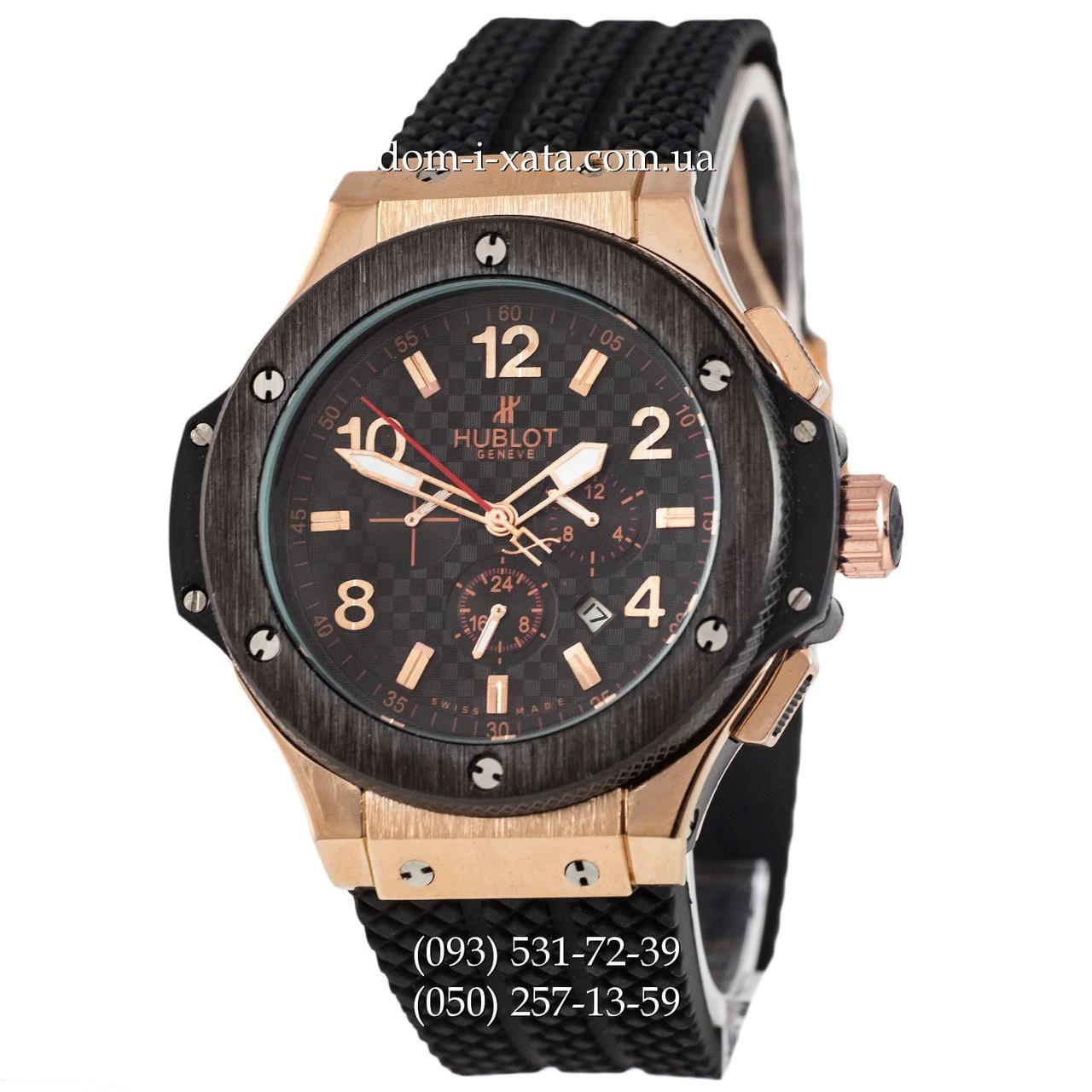 Мужские наручные часы Hublot Big Bang Automatic Black-Gold-Black, механические часы с автоподзаводом Хублот, реплика отличное качество!