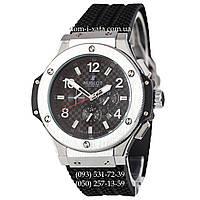 Мужские наручные часы Hublot Big Bang Automatic Black-Silver-Black механические часы с автоподзаводом Хублот