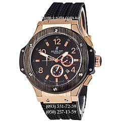 Мужские наручные часы Hublot Big Bang Black-Gold-Black, механические часы с автоподзаводом Хублот, реплика отличное качество!