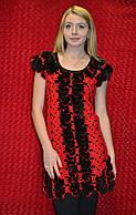 Красная женская туника с мехом норки