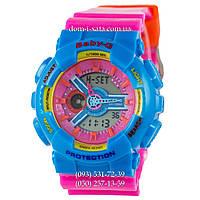 Электронные женские часы Casio Baby-G GA-110 Turquoise-Rose, спортивные часы Бейби Джи