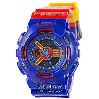 Электронные женские часы Casio Baby-G GA-110 Blue-Red, спортивные часы Бейби Джи белые