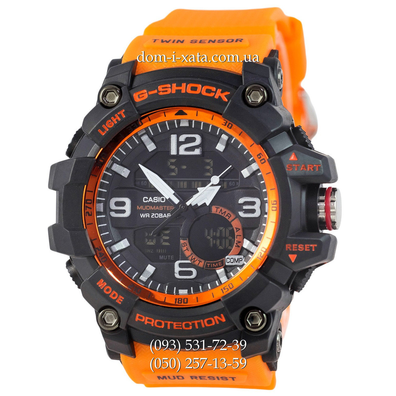 Электронные часы Casio G-Shock GG-1000 Black-Orange Wristband, спортивные часы Джи Шок черный-зеленый, реплика