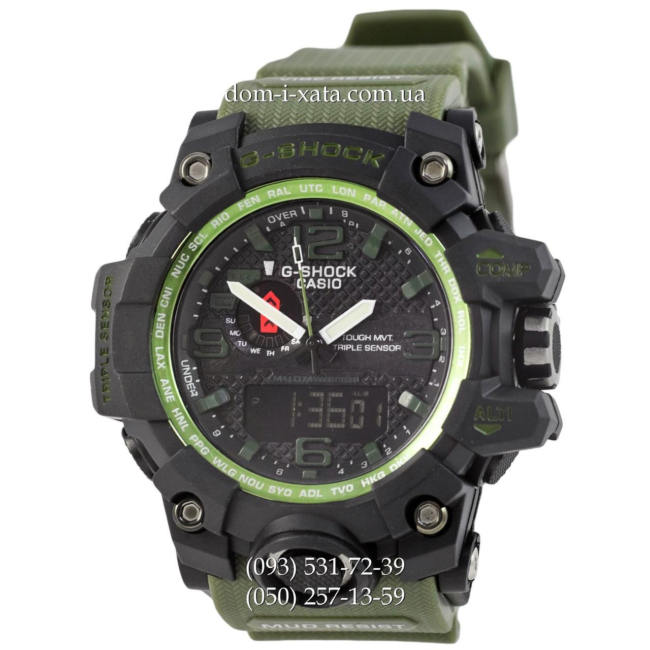 Электронные часы Casio G-Shock GWG-1000 Black-Militari Wristband, спортивные часы Джи Шок черный-зеленый, реплика отличное качество!