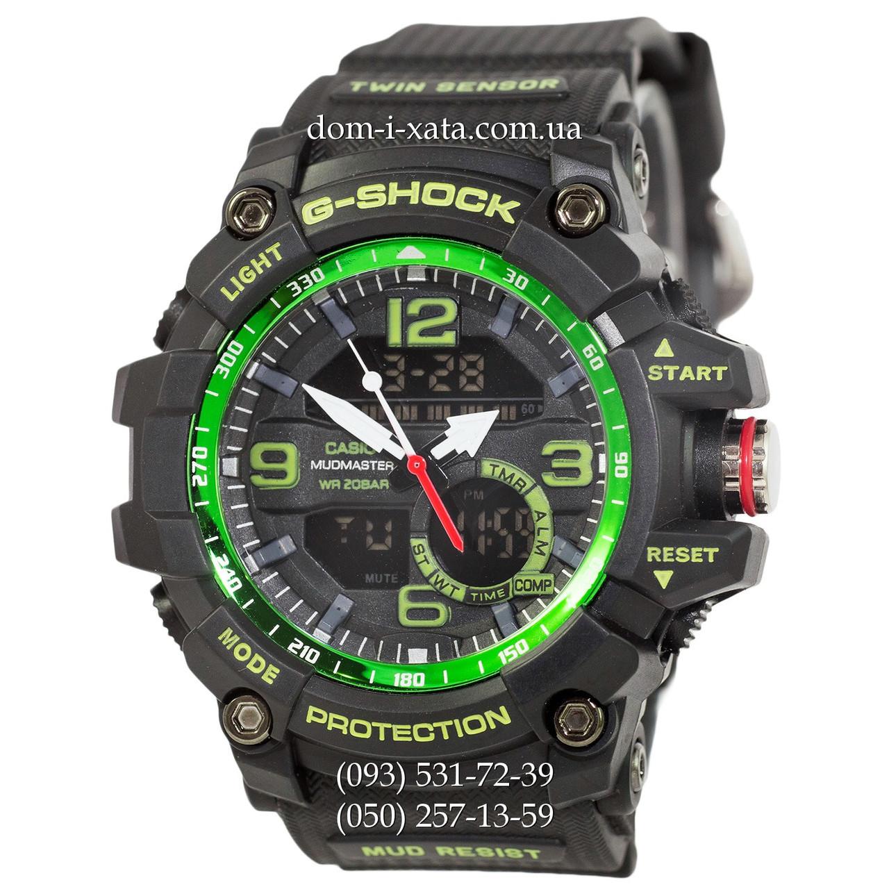 Электронные часы Casio G-Shock GG-1000 Black-Green, спортивные часы Джи Шок черный, реплика отличное качество!