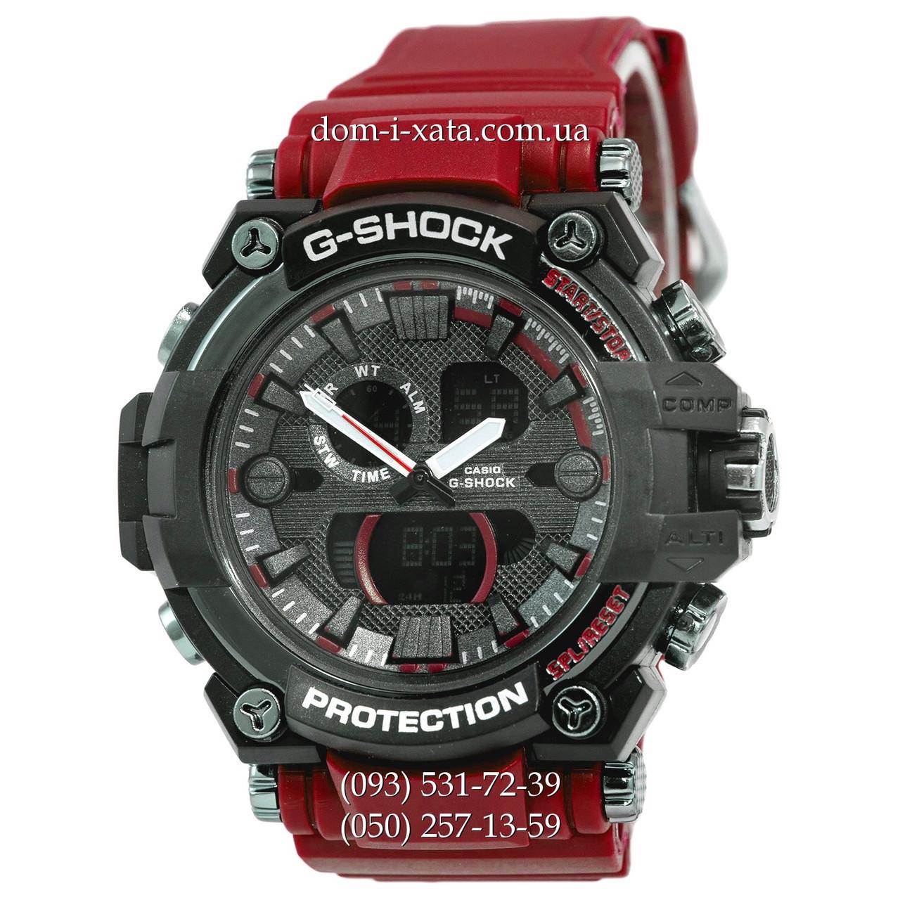 Электронные часы Casio G-Shock GWA-1045 Black-Red Wristband, спортивные часы Джи Шок черный-красный, реплика отличное качество!