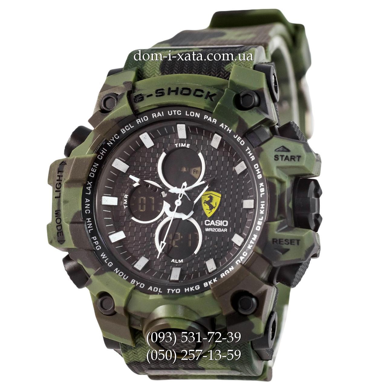 Электронные часы Casio G-Shock Ferrari Grade Militari-Green, спортивные часы Джи Шок феррари военные, камуфляж, реплика отличное качество!
