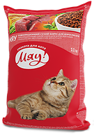 Сухой полнорационный корм Мяу! для взрослых котов с мясом, рисом и овощами 11 кг