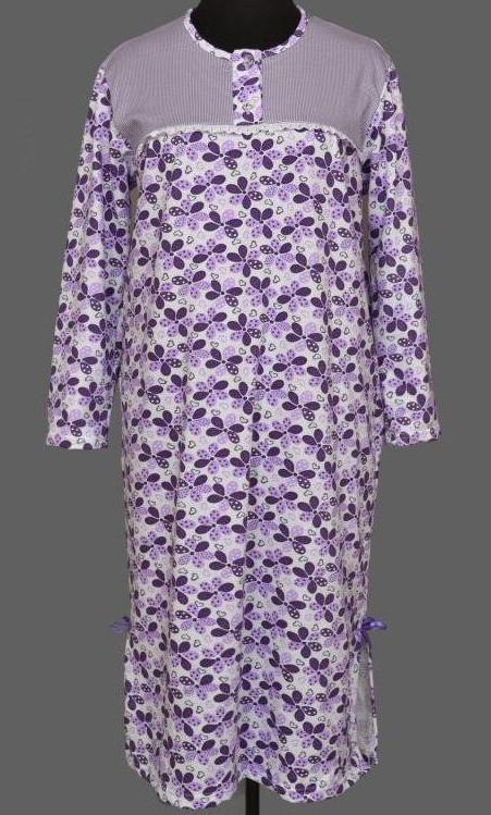 Теплая длинная ночная рубашка женская (ночнушка) сорочка большого размера хлопковая с начесом (Украина)