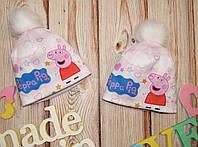 Детская зимняя шапка на девочку Пеппа, на флисе,бубон ,на обьем 50-54см