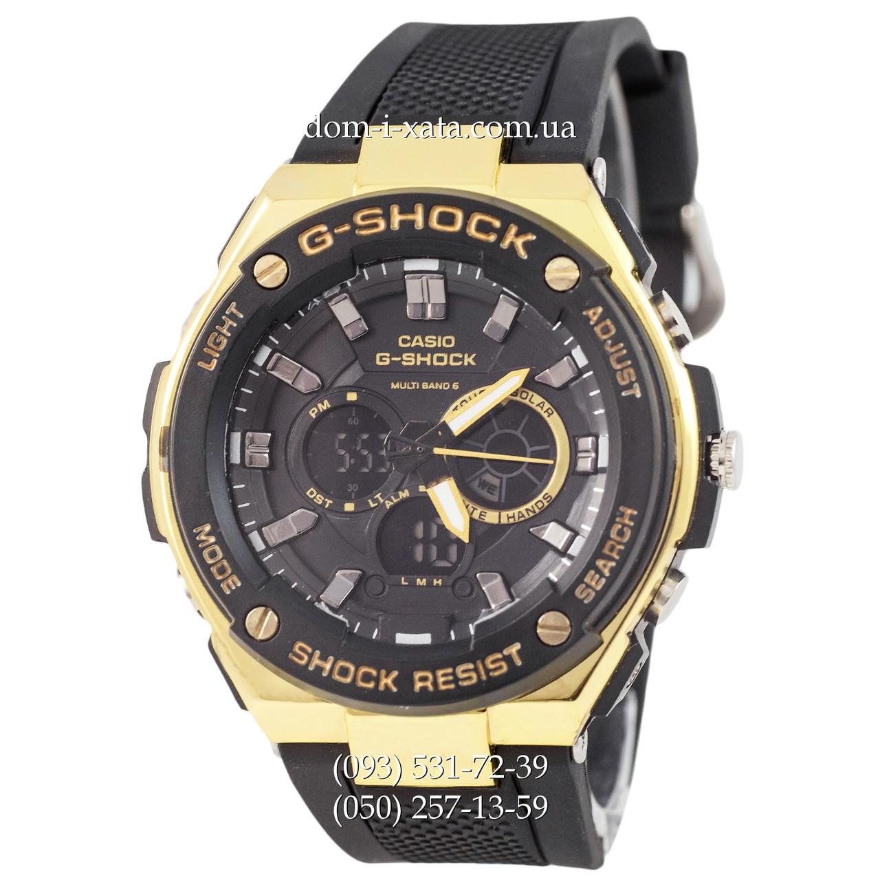Электронные часы Casio G-Shock GST-210 Black-Gold, спортивные часы Джи Шок черный-золото, реплика отличное качество!
