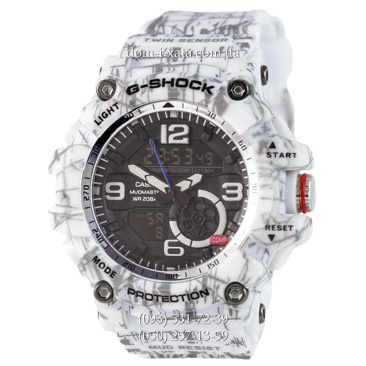 Электронные часы Casio G-Shock GG-1000 Mud-White, спортивные часы Джи Шок белый камуфляж, реплика отличное качество!