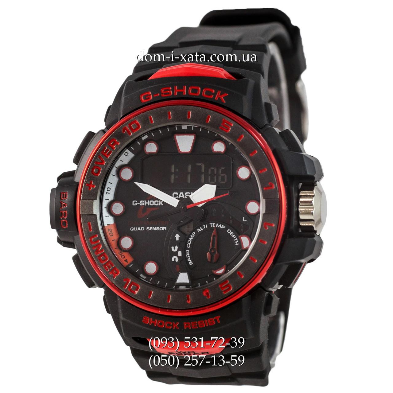 Электронные часы Casio G-Shock GWN-1000 Black-Red, спортивные часы Джи Шок черный-красный, реплика отличное качество!