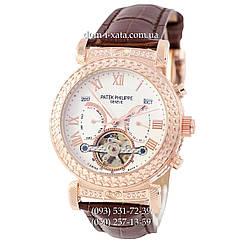 Мужские часы Patek Philippe Grand Complications Power Tourbillon Brown-Gold-White, механические, элитные часы, реплика отличное качество!