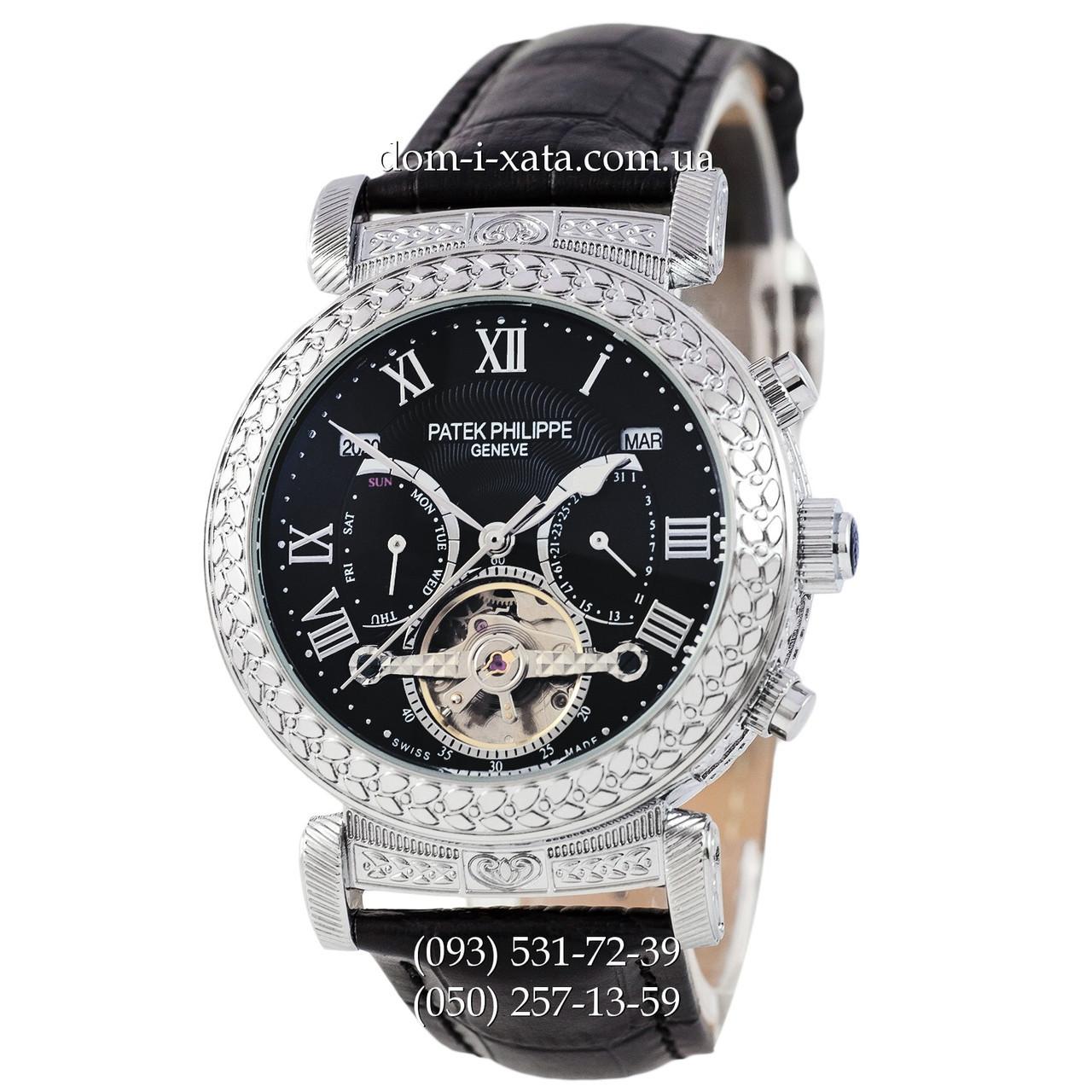 Мужские часы Patek Philippe Grand Complications Power Tourbillon Black-Silver, механические, элитные часы, реплика отличное качество