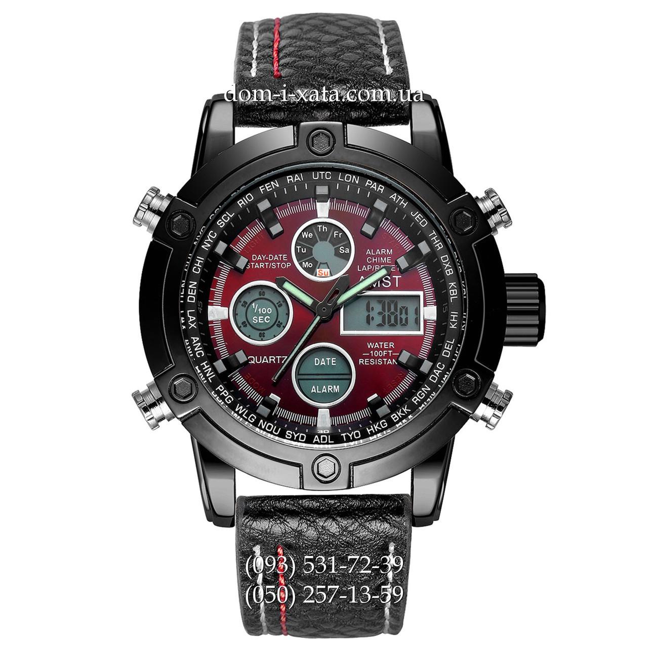 Армейские часы AMST 3022 Black-Red Fluted Wristband, кварцевые, противоударные, армейские часы АМСТ черный, реплика отличное качество!