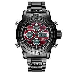 Армейские часы AMST 3022 Metall Black-Red, кварцевые, противоударные, армейские часы АМСТ, реплика отличное качество!
