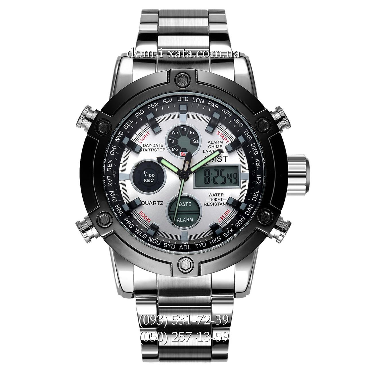 Армейские часы AMST 3022 Metall Silver-Black-Silver, кварцевые, противоударные, армейские часы АМСТ, реплика отличное качество!