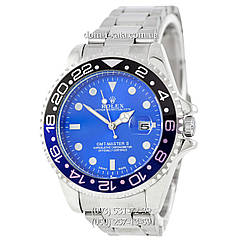 Мужские часы Rolex GMT-Master II Quarts Silver-Black-Blue, кварцевые часы Ролекс Мастер, реплика отличное качество!