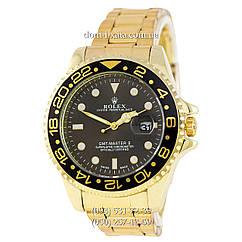 Мужские часы Rolex GMT-Master II Quarts Gold-Black-Black, кварцевые часы Ролекс Мастер, реплика отличное качество!