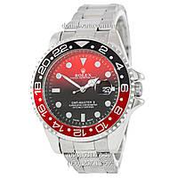 Мужские часы Rolex GMT-Master II Quarts Silver-Black-Red, кварцевые часы Ролекс Мастер