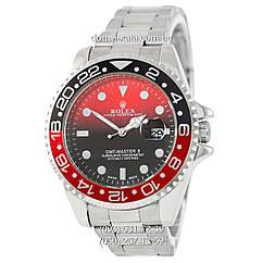 Мужские часы Rolex GMT-Master II Quarts Silver-Black-Red, кварцевые часы Ролекс Мастер, реплика отличное качество!